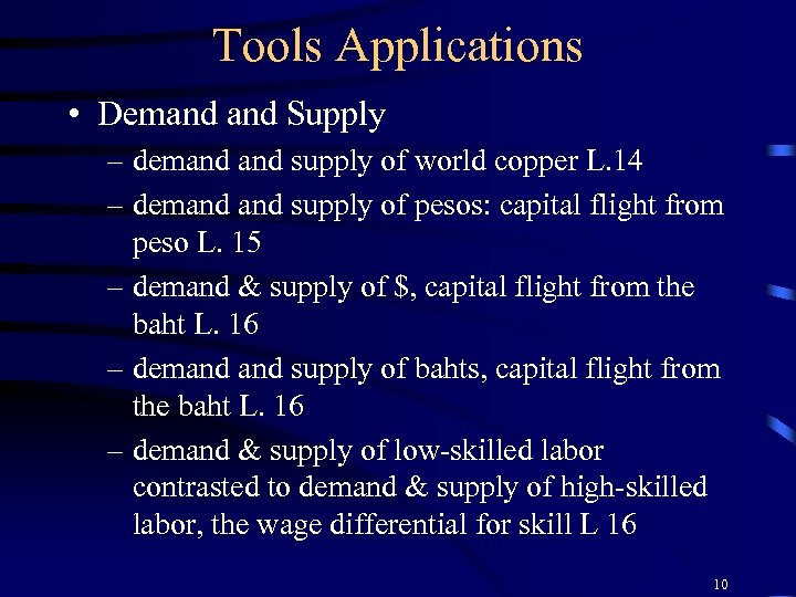Tools Applications • Demand Supply – demand supply of world copper L. 14 –