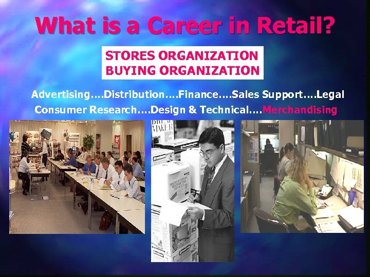 What is a Career in Retail? STORES ORGANIZATION BUYING ORGANIZATION Advertising…. Distribution…. Finance…. Sales