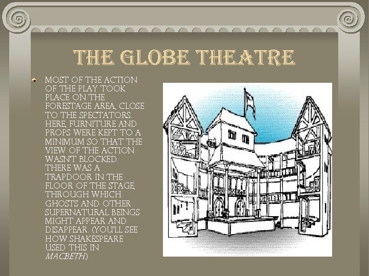 the globe theatre Most of the action of the play took place on the