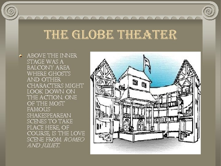 the globe theater Above the inner stage was a balcony area where ghosts and