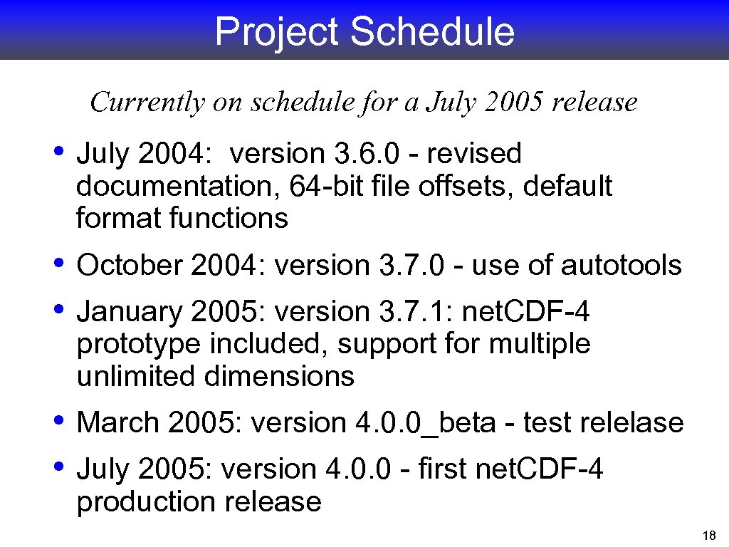 Project Schedule Currently on schedule for a July 2005 release • July 2004: version