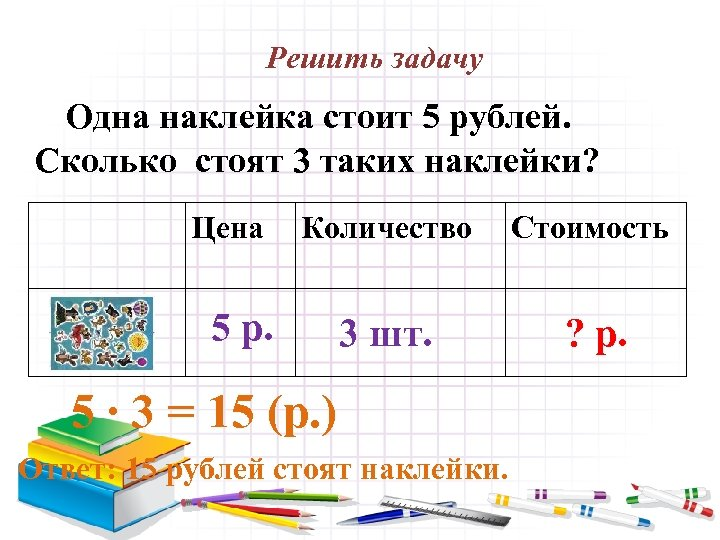 Решить задачу Одна наклейка стоит 5 рублей. Сколько стоят 3 таких наклейки? Цена Количество