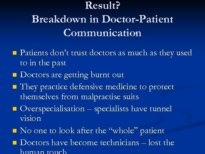 Result? Breakdown in Doctor-Patient Communication Patients don't trust doctors as much as they used