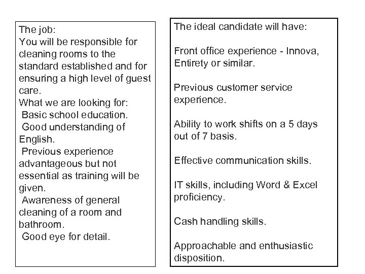 Jobs in the Hospitality and Catering industry