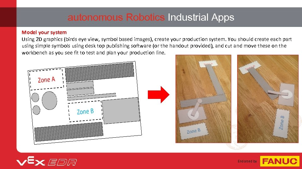 autonomous Robotics Industrial Apps Model your system Using 2 D graphics (birds eye view,