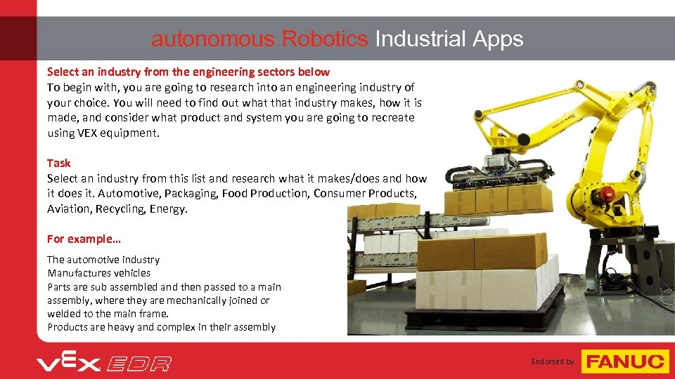 autonomous Robotics Industrial Apps Select an industry from the engineering sectors below To begin