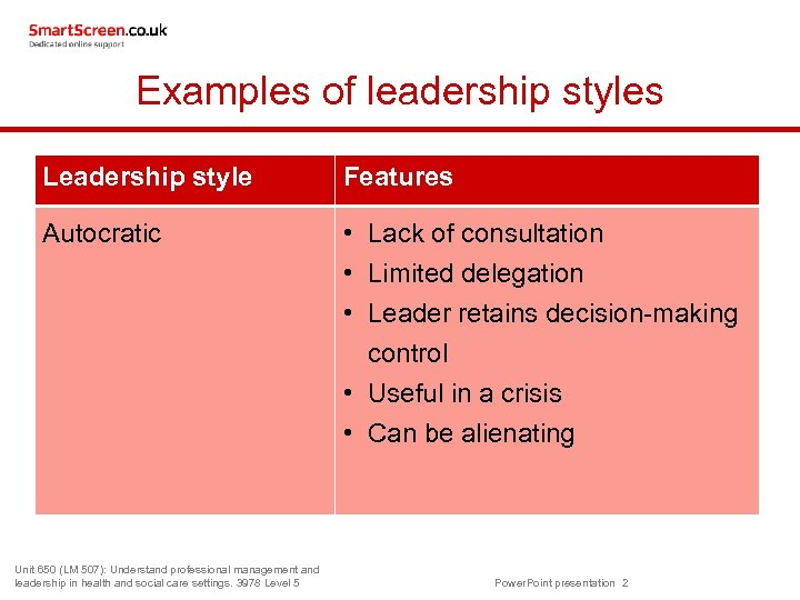 Examples of leadership styles Leadership style Features Autocratic • Lack of consultation • Limited