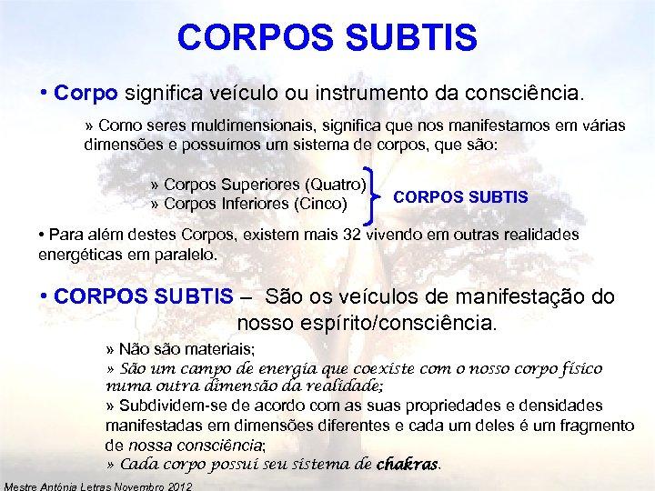 CORPOS SUBTIS • Corpo significa veículo ou instrumento da consciência. » Como seres muldimensionais,