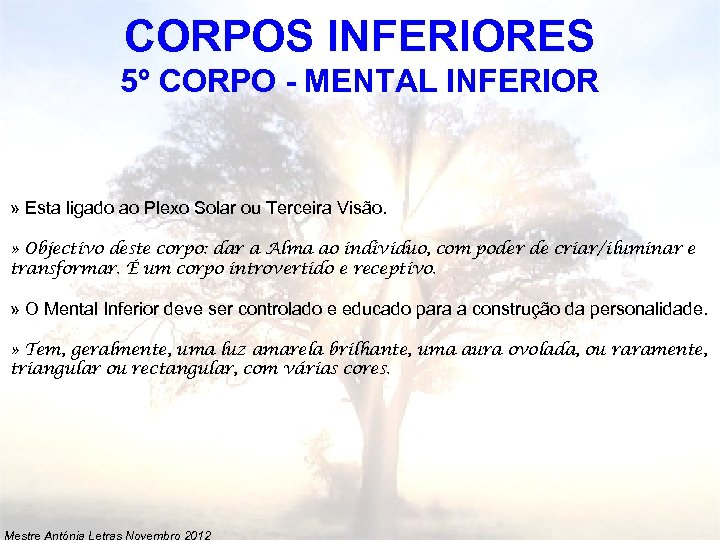 CORPOS INFERIORES 5º CORPO - MENTAL INFERIOR » Esta ligado ao Plexo Solar ou