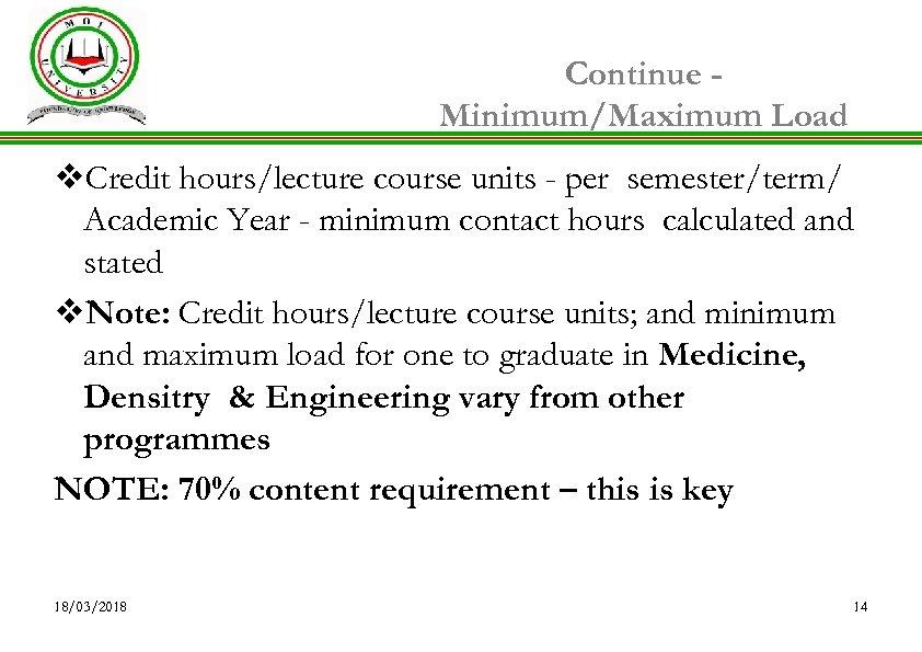 Continue Minimum/Maximum Load v. Credit hours/lecture course units - per semester/term/ Academic Year -