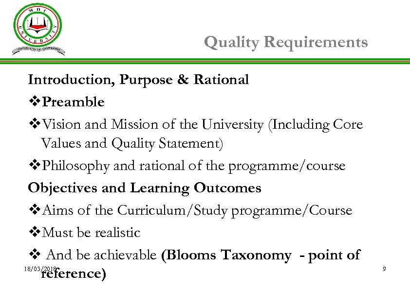 Quality Requirements Introduction, Purpose & Rational v. Preamble v. Vision and Mission of the