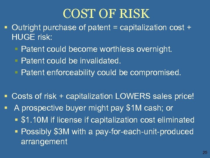 COST OF RISK § Outright purchase of patent = capitalization cost + HUGE risk: