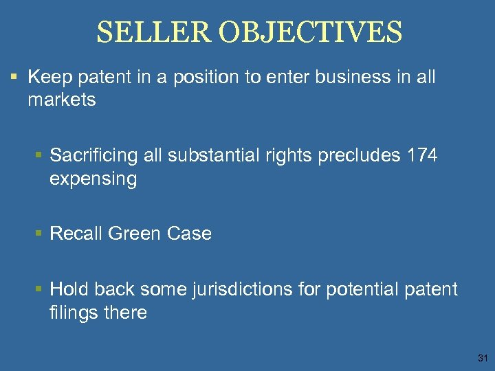 SELLER OBJECTIVES § Keep patent in a position to enter business in all markets