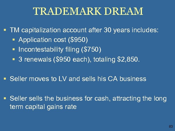 TRADEMARK DREAM § TM capitalization account after 30 years includes: § Application cost ($950)