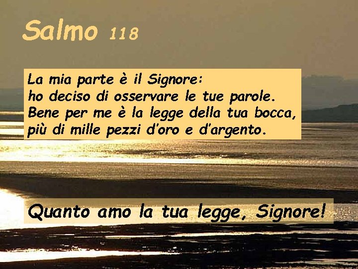 Salmo 118 La mia parte è il Signore: ho deciso di osservare le tue