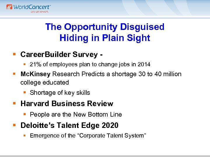 The Opportunity Disguised Hiding in Plain Sight § Career. Builder Survey - § 21%