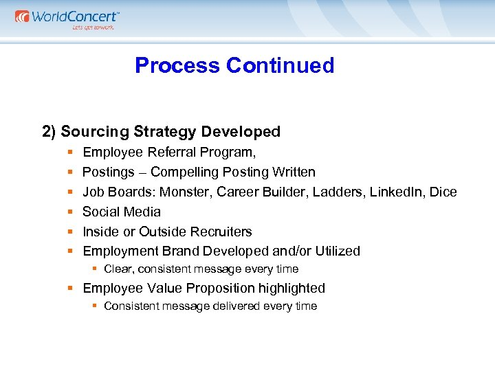 Process Continued 2) Sourcing Strategy Developed § § § Employee Referral Program, Postings –