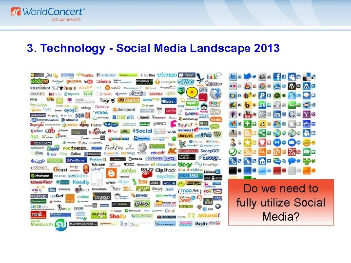 3. Technology - Social Media Landscape 2013 Do we need to fully utilize Social