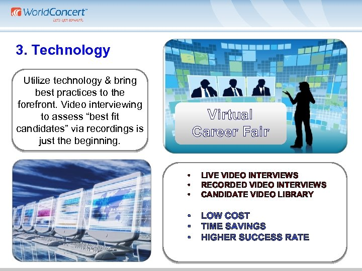 3. Technology Utilize technology & bring best practices to the forefront. Video interviewing to