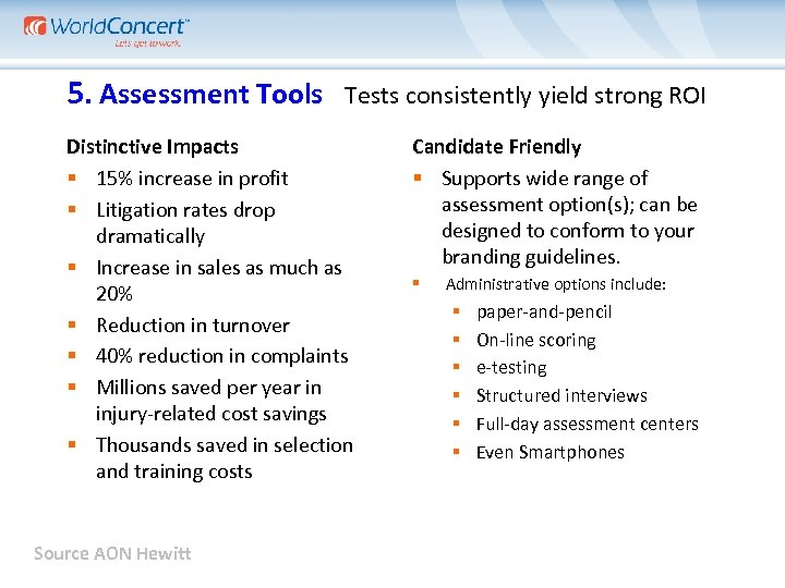 5. Assessment Tools Tests consistently yield strong ROI Distinctive Impacts 15% increase in profit