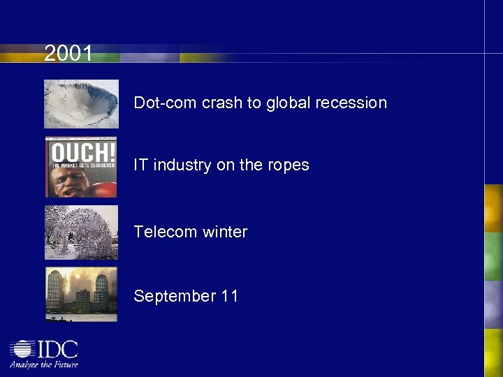 2001 Dot-com crash to global recession IT industry on the ropes Telecom winter September