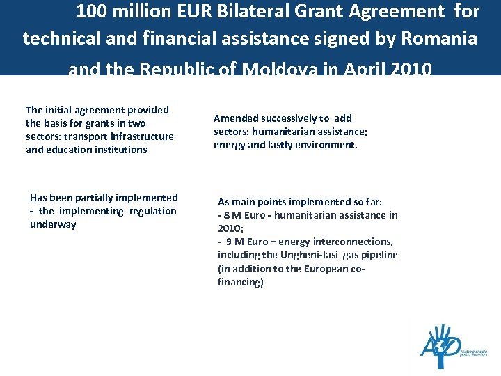 100 million EUR Bilateral Grant Agreement for technical and financial assistance signed by Romania