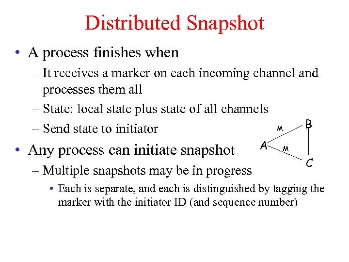 Distributed Snapshot • A process finishes when – It receives a marker on each