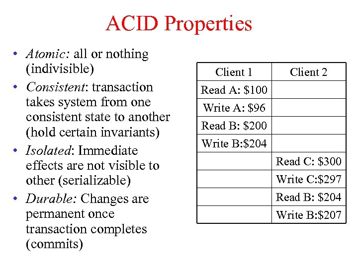 ACID Properties • Atomic: all or nothing (indivisible) • Consistent: transaction takes system from