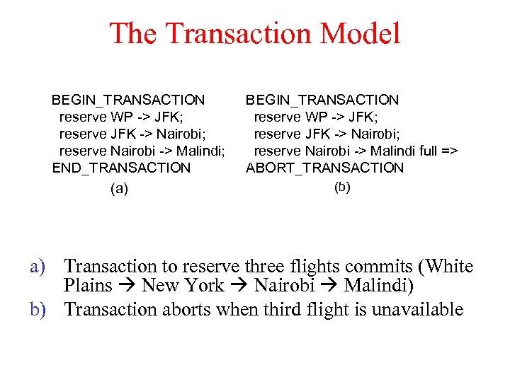 The Transaction Model BEGIN_TRANSACTION reserve WP -> JFK; reserve JFK -> Nairobi; reserve Nairobi