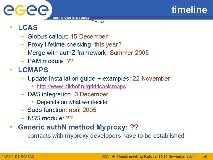 timeline Enabling Grids for E-scienc. E • LCAS – – Yah! Globus callout: 15