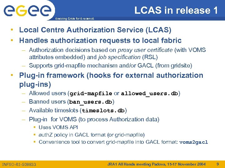 LCAS in release 1 Enabling Grids for E-scienc. E • Local Centre Authorization Service