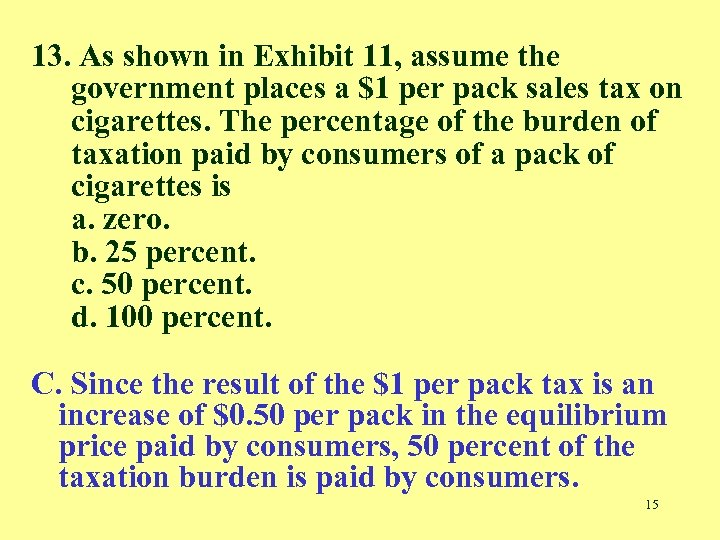 13. As shown in Exhibit 11, assume the government places a $1 per pack