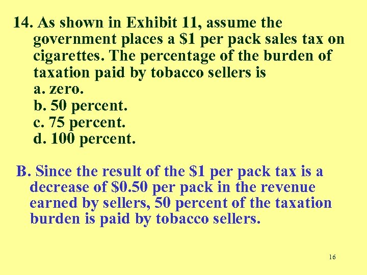 14. As shown in Exhibit 11, assume the government places a $1 per pack