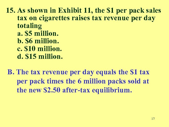 15. As shown in Exhibit 11, the $1 per pack sales tax on cigarettes