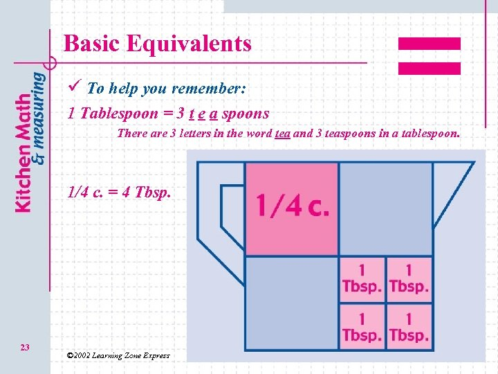 Basic Equivalents ü To help you remember: 1 Tablespoon = 3 t e a