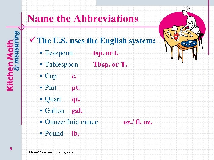 Name the Abbreviations ü The U. S. uses the English system: • Teaspoon tsp.