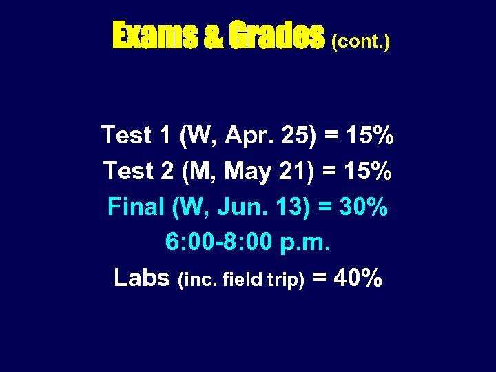 Exams & Grades (cont. ) Test 1 (W, Apr. 25) = 15% Test 2