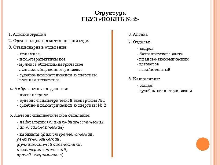 Структура ГКУЗ «ВОКПБ № 2» 1. Администрация 2. Организационно-методический отдел 3. Стационарные отделения: -