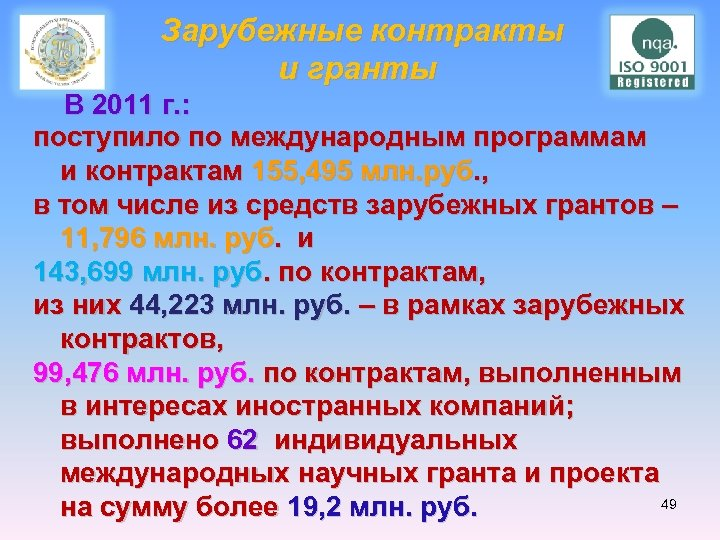 Зарубежные контракты и гранты В 2011 г. : поступило по международным программам и