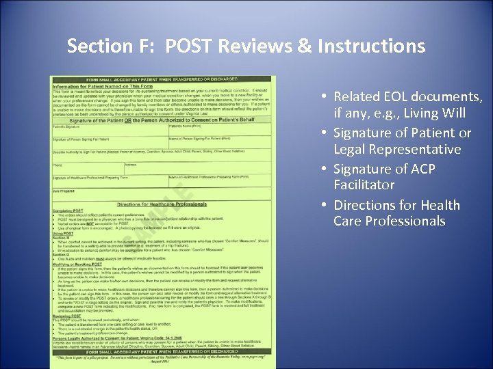 Section F: POST Reviews & Instructions • Related EOL documents, if any, e. g.