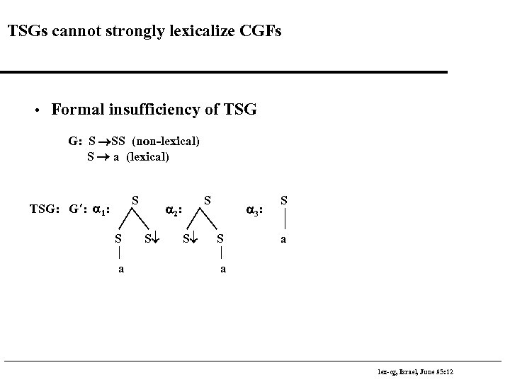 TSGs cannot strongly lexicalize CGFs • Formal insufficiency of TSG G: S ®SS (non-lexical)