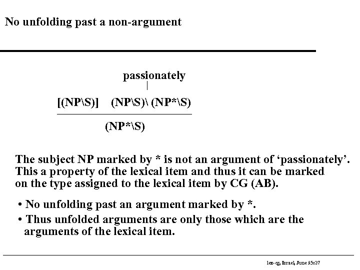 No unfolding past a non-argument passionately [(NPS)] (NPS) (NP*S) The subject NP marked by