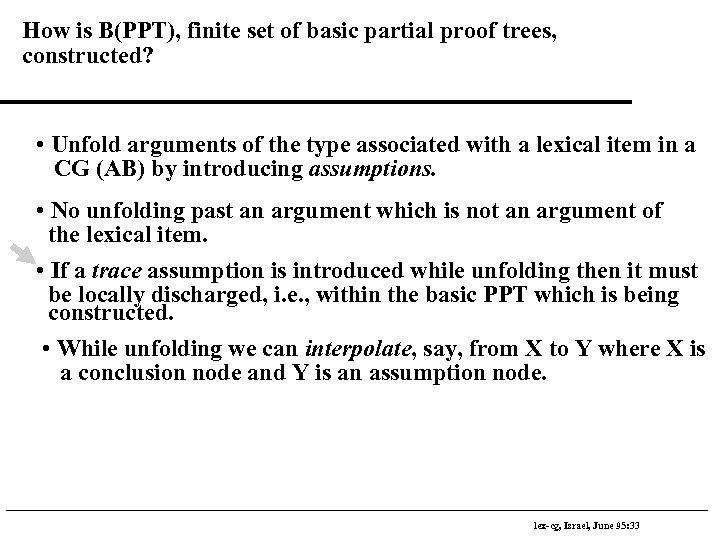 How is B(PPT), finite set of basic partial proof trees, constructed? • Unfold arguments