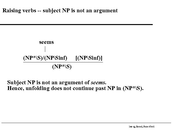 Raising verbs -- subject NP is not an argument seems (NP*S)/(NPSinf) [(NPSinf)] (NP*S) Subject
