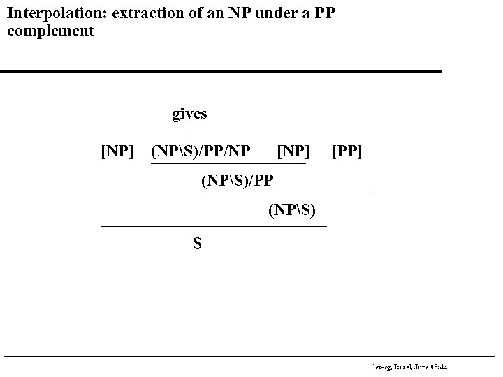 Interpolation: extraction of an NP under a PP complement gives [NP] (NPS)/PP/NP [NP] [PP]