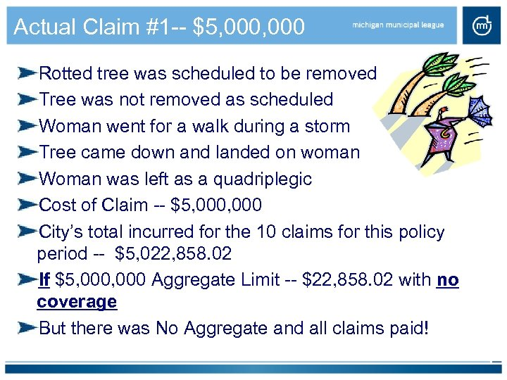 Actual Claim #1 -- $5, 000 Rotted tree was scheduled to be removed Tree