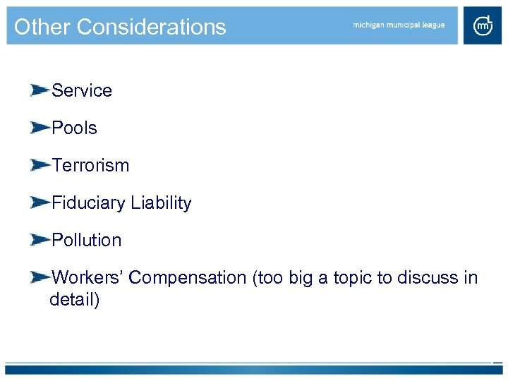 Other Considerations Service Pools Terrorism Fiduciary Liability Pollution Workers' Compensation (too big a topic