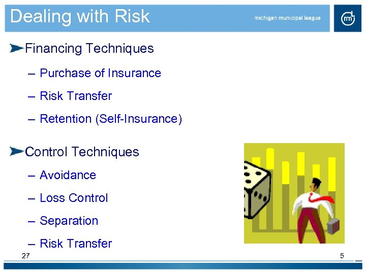 Dealing with Risk Financing Techniques – Purchase of Insurance – Risk Transfer – Retention