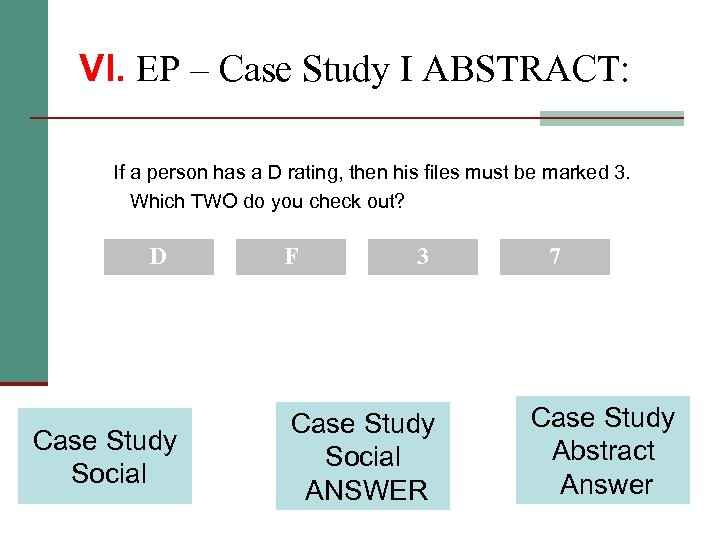 VI. EP – Case Study I ABSTRACT: If a person has a D rating,