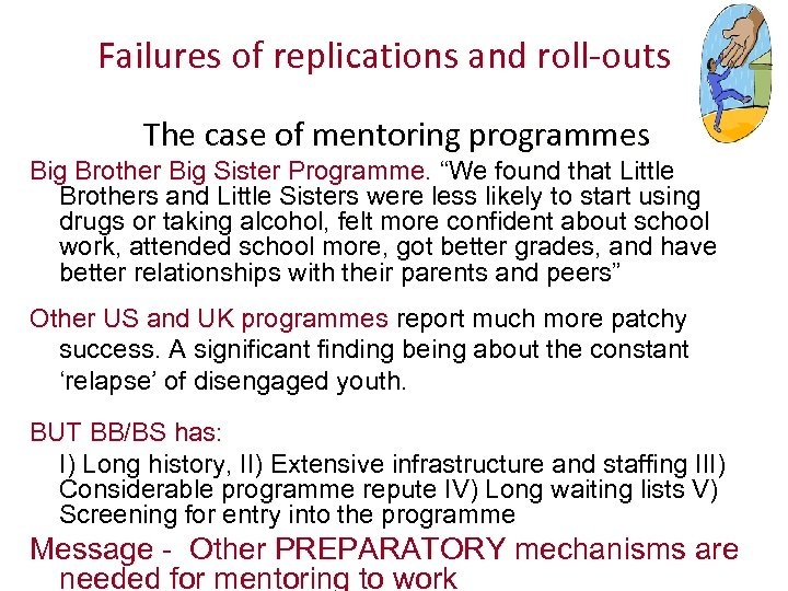 Failures of replications and roll-outs The case of mentoring programmes Big Brother Big Sister